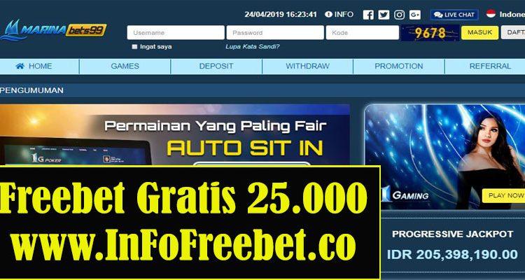 Freebet Gratis MarinaBets99 Senilai 25.000