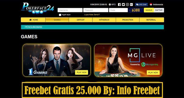Freebet Gratis PokerFace24 Senilai 25.000