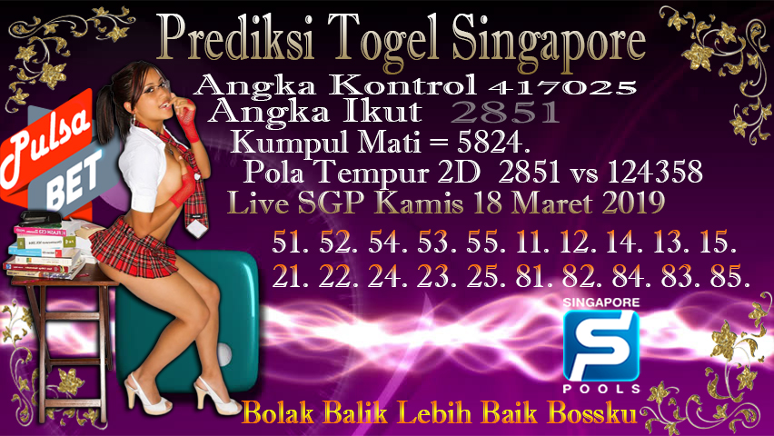 Prediksi Togel Jitu Singapore Kamis 18 Maret 2019
